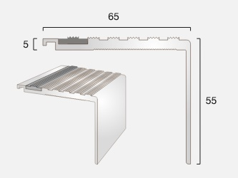 AN65/55 Square Back Castellated Aluminium Stair Nosing