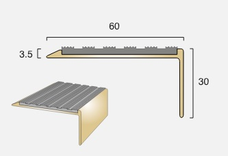 BN15 Square Back Infill Brass Stair Nosing