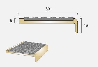 BN3 Square Back Infill Brass Stair Nosing