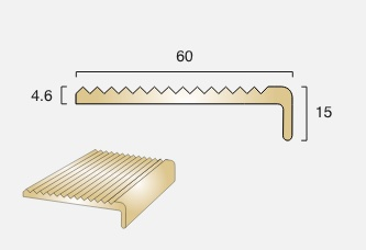 BN4 Square Back Brass Stair Nosing
