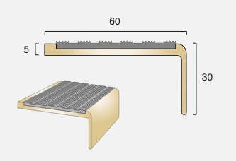 BN5 Square Back Infill Brass Stair Nosing