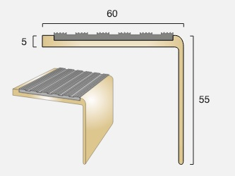 BN55 Square Back Infill Brass Stair Nosing