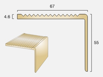 BN67 Square Back Brass Stair Nosing
